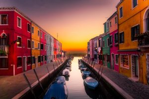 Boats and sunset in Europe